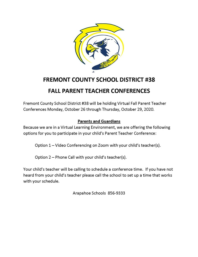 Parent Teacher Conferences Oct 26-29, 2020