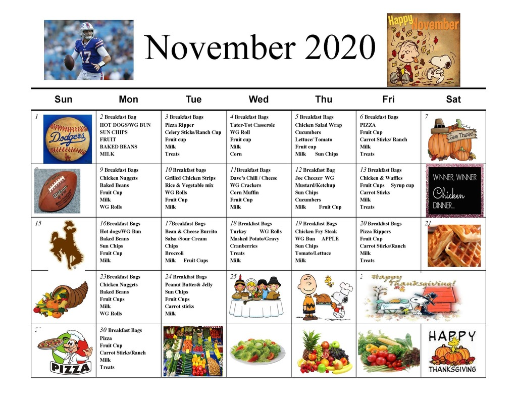 Lunch Menu for November 2020