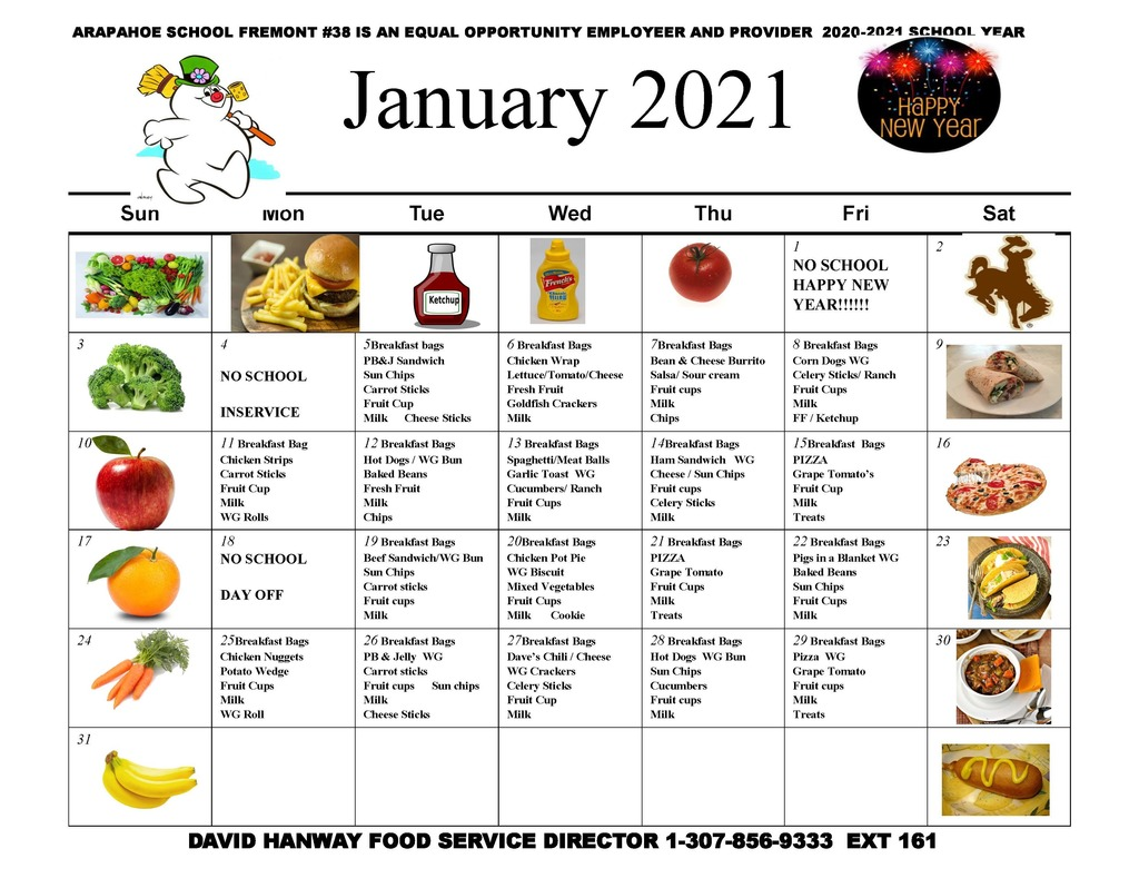 January 2021  Lunch Menu