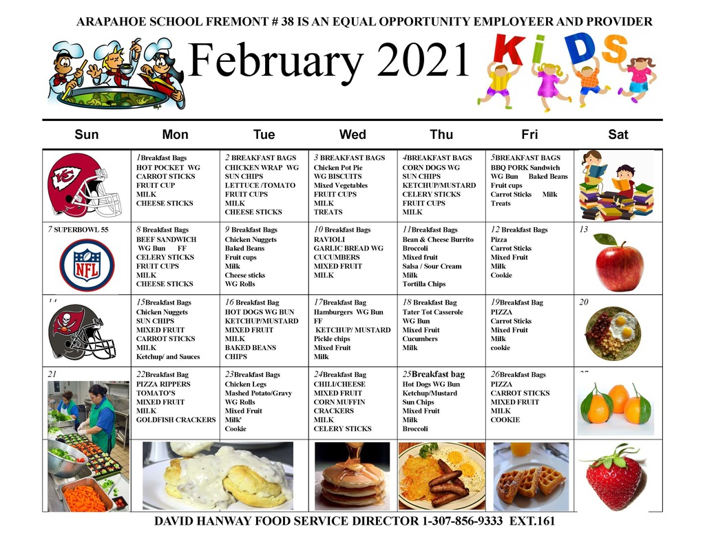 February 2021 Lunch Menu