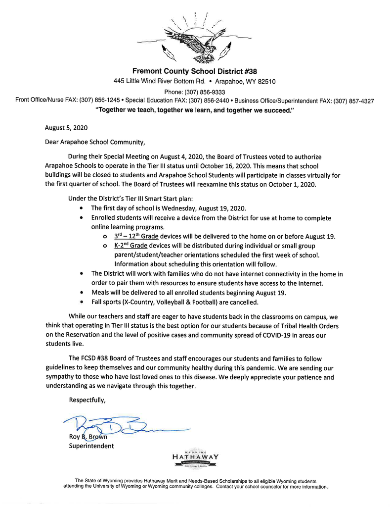 Photo scan of the letter to parents and community regarding the district's reopening plan.
