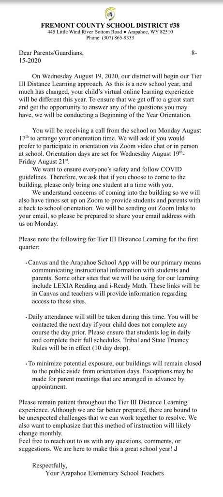 Orientation letter for PK-2 families.