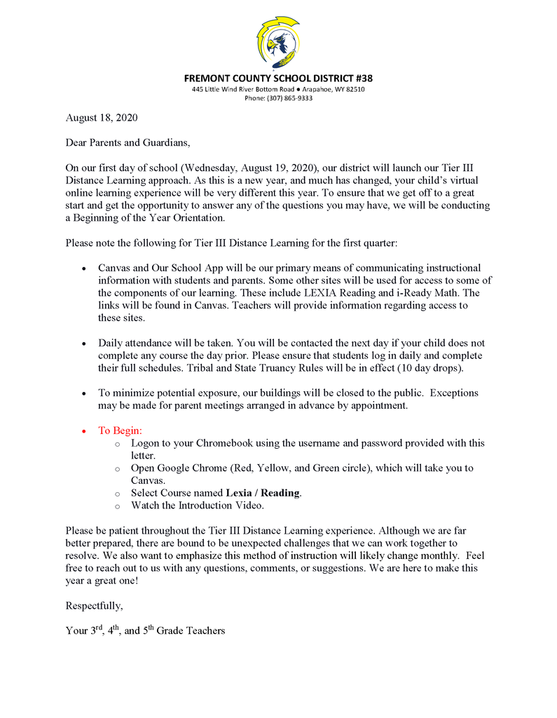 Letter to students and families from 3rd-5th grade teachers.