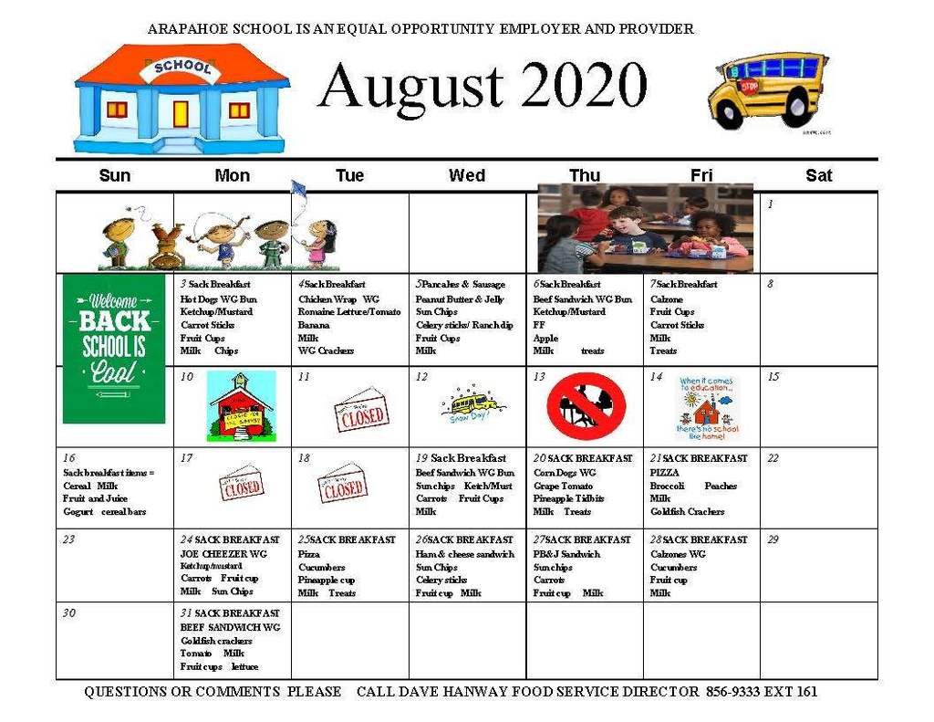 August 2020 Lunch Menu
